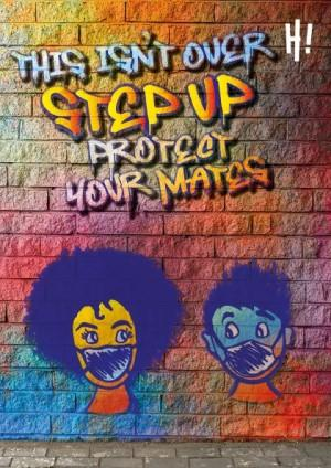 Animated image with colourful graffiti writing on a brick wall. A girl and boy are wearing face masks