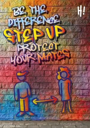 Animated image with colourful graffiti writing on a brick wall. A girl and boy are standing apart with a double ended arrow between them.