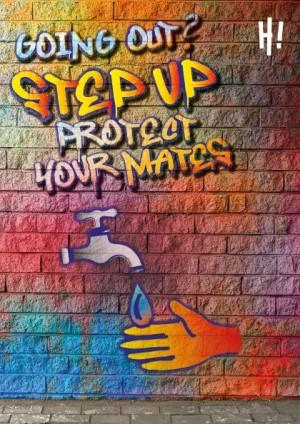 Animated image with colourful graffiti writing on a brick wall. A hand is under a running tap.