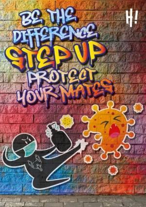 Animated image with graffiti writing and ninja kicking a coronavirus bug